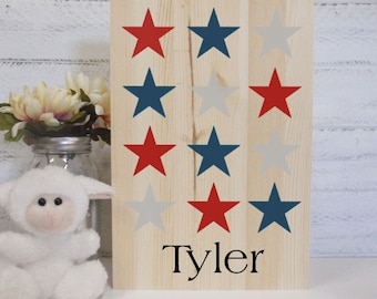 Natural Wood Hand Painted Stars And Name Sign- Baby Art- Baby Decor Art-Kids Room Decor- Nursery Subway Art- Country Nursery Decor- Abc Art