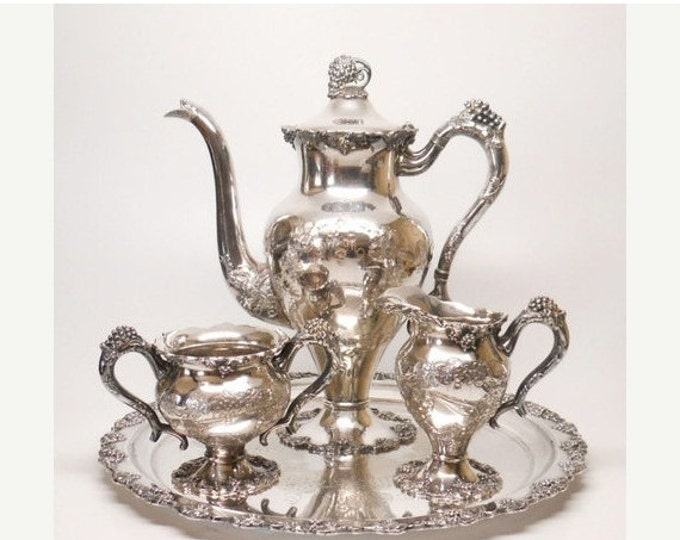 Storewide 25% Off SALE Antique 19th Century Amazing High Repousse Silver Plate Grape Designed Hand Chased Elizur G Webster Coffee Service