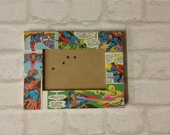 "Superman Super Hero Comic Book Decoupage Picture Frame 6""x8"" or 10""x8"""