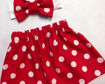 Minnie Mouse Red Polka dot Skirt with Matching Headband
