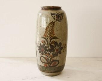 Rustic Stoneware Folk Art Vase