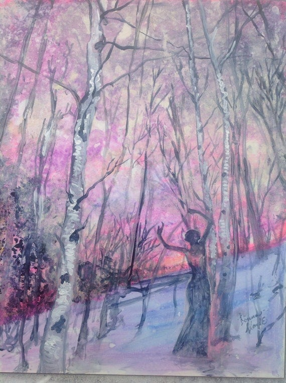 Heart on Fire Original Acrylic Painting Rectangle Wall Art 16 by 20  Birches Woods Woman Dancer Snow Gold pink Purple