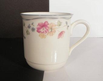 Lenox Country Cottage Courtyard Coffee Mug Pink Flowers Blue Ribbon