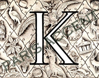 Instant digital download of Letter 'K' from 'Nouveau Petit Larousse Illustré' a French Encyclopedia. Great for arts and crafts! Dated 1952