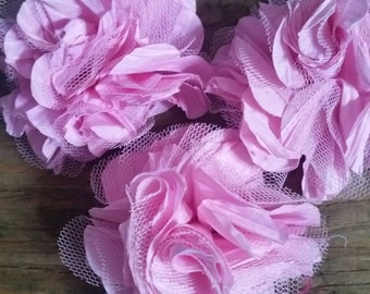 Pink fabric Flower Embellishment for Hair accessory, wedding. 4 pieces