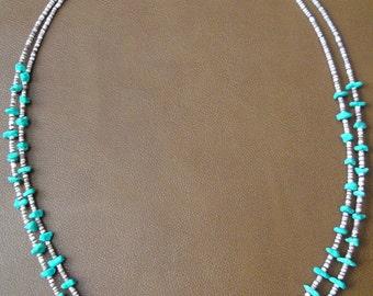 Native American Santo Domingo Heishi Shell Turquoise Necklace