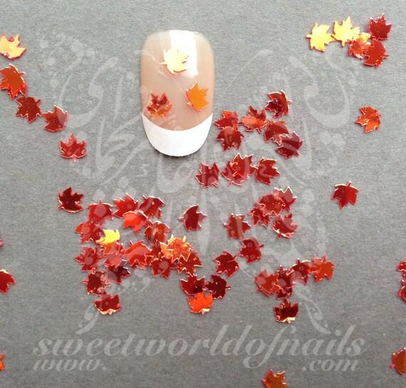 Easy Fall Nail Decoration: Orange Autumn Mini Leaves Nail Art Fall Decoration