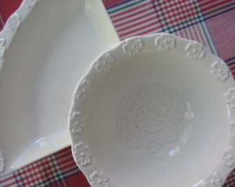 vintage california pottery usa l55 center bowl and side dish from lazy susan set white mid