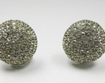 Gleaming Vintage 1950s Silver Toned Rhinestone Button Earrings