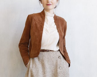 suede bolero / cropped suede jacket / western style bolero / brown suede bolero / short suede jacket / victorian style / leather top