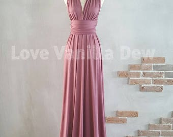 Bridesmaid Dress Infinity Dress Plum Floor Length Maxi Wrap Convertible Dress Wedding Dress