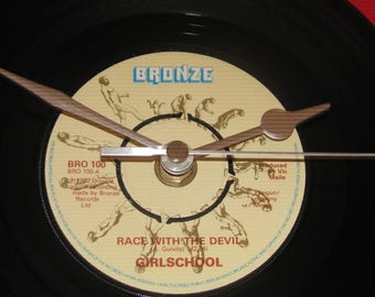 "Girlschool race with the devil 7"" vinyl record clock"