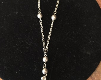 1970's Sterling Silver Drop Necklace