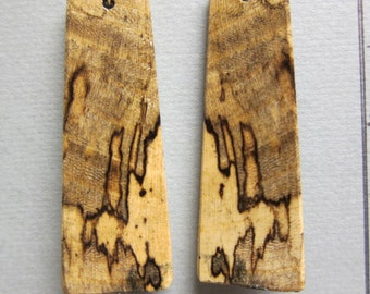 Spalted Hackberry Large Exotic Wood Earrings hypoallergenic Ear wires handcrafted ExoticWoodJewelryAnd