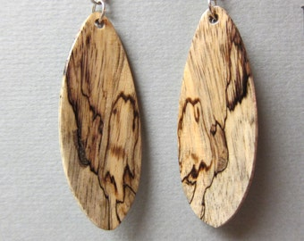 Long Spalted Tamarind Exotic Wood Earrings handcrafted by ExoticwoodJewelryAnd Hypo allergenic Ear wires