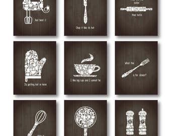 Incroyable Set Of 9   Kitchen Funny Quotes Art Set, Kitchen Decor,kitchen Print,