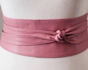 Pink Leather Obi Belt | Waist or Hip Belt | Leather corset tie belt | petite to Plus Size