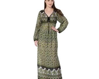 jaipur india karni,S brown color COTTON printed ethnic vintage look best india maxi dress evening dress full conferrable dress night goun