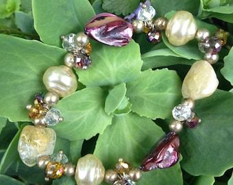 Handcrafted Citrine Crystal Elastic Bracelet