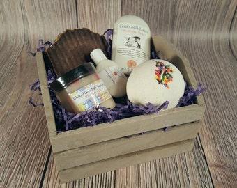 Goat Milk Soap Gift Set, Birthday Lotion Gift Basket, Birthday Soap Gift Set, Spa Gift Set, Sugar Scrub Gift Box, Birthday Gift for Her