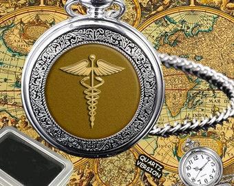DOCTOR CADUCEUS MEDICAL symbol quartz menspocket watch+ gift box,engraving