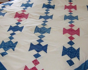 Patriotic! Antique Red Blue and White Jacobs Ladder Quilt TOP 70X69""
