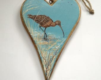 SOLD Curlew At The Waters Edge. Seabird. Handpainted heart
