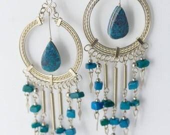 Long Earrings Long Beaded Earrings Original Sodalite Long Earrings Cascade Style Earrings Peruvian Jewelry Great Gift For Her