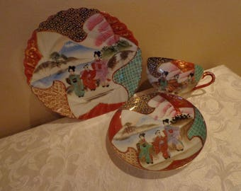 Geisha Lunch Set Tea Set from Japan, Raised Dot Design, Hand Painted Geishas Design, Fluted Edge Japanese China Tea Set