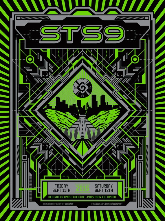 "18x24"" STS9 Red Rocks 2015 Poster Sound Tribe Sector 9 Print Colorado"