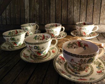 Vintage Indian Tree Johnson Brothers Ironstone Teacups with Saucers x 6