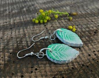 White green earrings, Folk leaf earrings, Eco-friendly dangles, Rustic leaf earrings, green clay earrings,, nature gift for her, green leaf