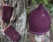 Ensemble bonnet / moufles en polaire de coton biologique Rouge indien • BÉBÉ