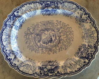 Antique Large Blue And White Platter From England