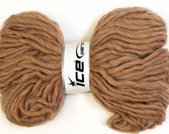 400 gr Super Chunky Yarn Light Brown Super Bulky Yarn Australian Wool Hand Knitting Yarn Soft Thick Felting Yarn Bulk