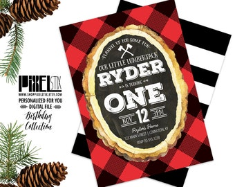 Lumberjack Birthday Invitation, Boy's Birthday Party Invite, Flannel Party Invite, Lumberjack Party, Rustic Birthday, Buffalo Plaid Invite