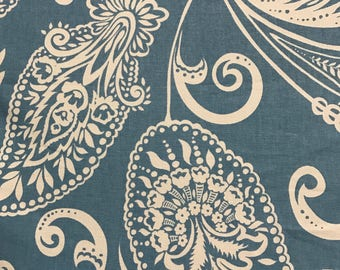 Empirical Paisley - Blue and White - Company C  - Cotton Print - Fabtic By The Yard