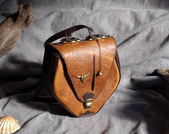 Shoulder bag and brown leather backpack western pull-up