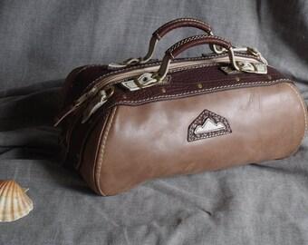 Handbag, leather bowling gray brown beige