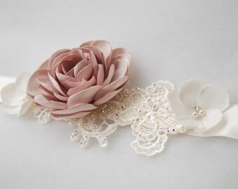 Ivory and pink beaded lace bridal belt;ivory bridal belt;plum pink camellia bridal belt