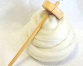 Beginner Top Whorl Drop Spindle Kit with Natural Merino Wool Roving Spinning Fiber