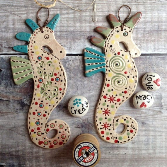 Ceramic Seahorse, handmade, handglazed, hanging decoration, coastal, beach decor, unique, colour and pattern, ideal gift.