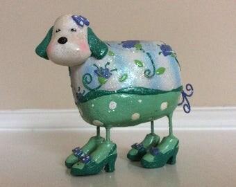 A Cute Small Green Glittery Dog Figurine in Heels Trinket Box.