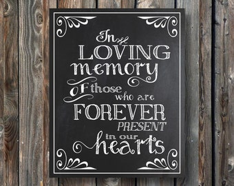 PRINTABLE Wedding Sign–In Loving Memory Of Those–DIY PRINTABLE Wedding Chalkboard Sign-Wedding Memorial Chalkboard-Instant Download