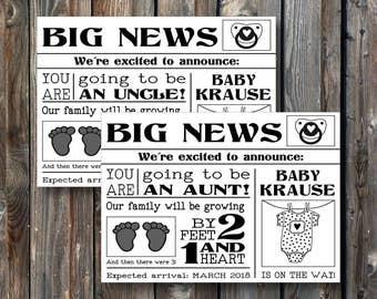 PRINTABLE Pregnancy Announcement Card–Printable Baby Announcement Card-Baby Reveal Card-Pregnancy Reveal To Uncle-Baby Reveal To Aunt-PA05