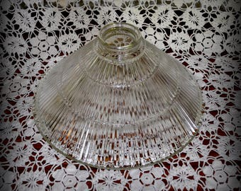 Vintage Clear Glass Lamp Shade, Ridged Design 10 in. Diameter