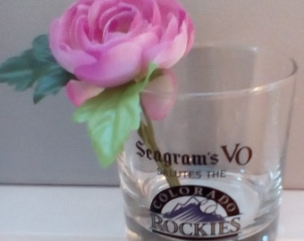 Bottoms up....Seagram's Vo Salutes The ROCKIES....Set of four vintage Bar glassware
