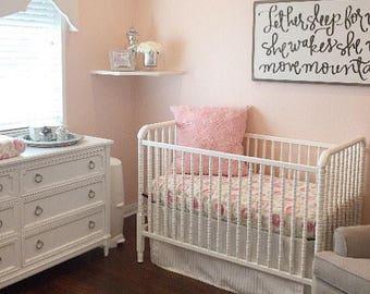Peony Watercolor | Standard Crib Sheet | Baby Girl Bedding