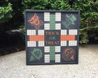Parcheesi, Halloween, Game Board, Primitive, Folk Art, Game Boards, Black Cat, Witch, Pumpkin, Skeleton, Sign, Game, Board Game, Wood