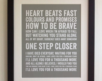 FRAMED Lyrics Print - Christina Perry, A Thousand Years - 20 Colours options, Black/White Frame, Wedding, Anniversary, Valentines, Picture